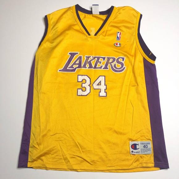 176498e86 Champion Other - VTG Champion Shaq O Neil  34 Lakers NBA Jersey